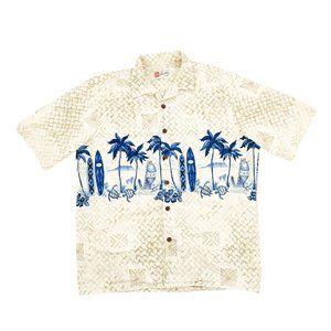 Hilo Hattie Button Shirt Men's XL Brown Hawaiian